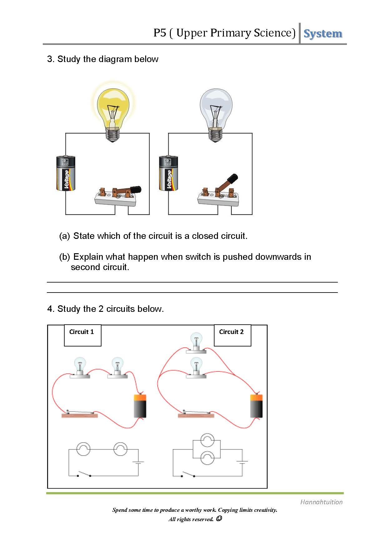 P5 Science Electric Circuits Electricity Circuit Diagram Page 1 2 3