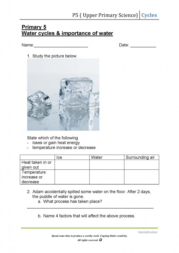 Printable Worksheets worksheets on the water cycle : P5 Science (Water Cycles) Worksheet – hannahtuition
